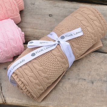 Cable Mix - Tan - Baby Blanket  - 100% Cotton