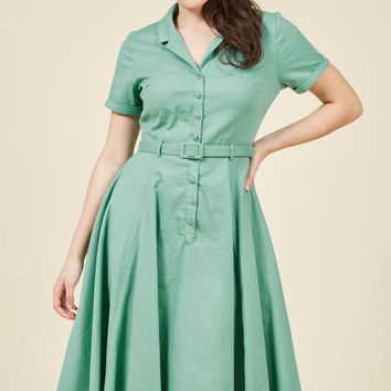 Cherished Era Shirt Dress in Pistachio