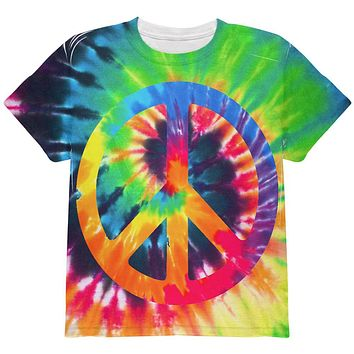 Peace Sign Tie Dye All Over Youth T Shirt