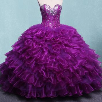 Purple Ball Gown Dresses Beaded Crystals Sweet Dresses Gowns Dress