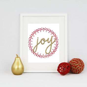Joy Holiday Print - Digital Download - Instant Download - Art Print - Home Decor - Typography Print - Holiday Decor - Printable