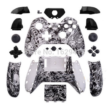 IVY QUEEN Custom Hydro Dipped Grave White Skulls Controller Shell & Buttons Mod Kit For Microsoft XBOX One Controllers Wireless