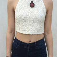 Cora Crochet Halter Top
