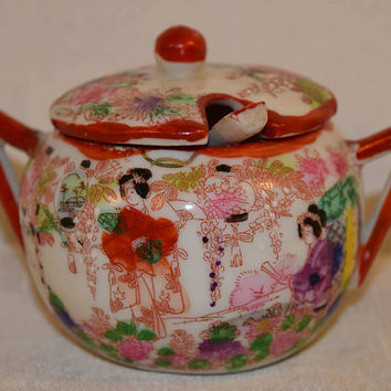 Geisha Sugar Bowl with Spoon Vintage 1890s Hand Painted Porcelain Chinoiserie Lidded Bowl and Spoon Made in Japan Geisha Girl Decor