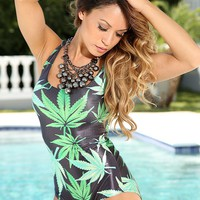 Green Black Herbal Leaf Sexy One Piece Bikini Swimsuit