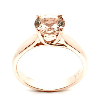 Morganite Solitaire Ring! 14K Rose Gold 7mm Round Cut Morganite Solitaire Engagement Ring, Wedding Ring