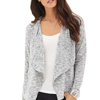 Contemporary Drape-Front Marled Cardigan