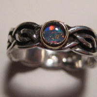 Beautiful Black Opal Triplet Ring ... Sterling Silver and 14 kt Gold ... Size 5 .................... e336