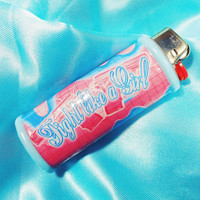 Fight Like a Girl! Feminism Blue and Pink Drip Bic Lighter Case