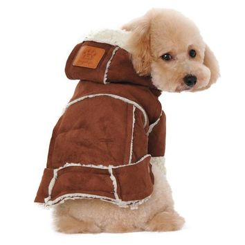 dog clothes winter coats and jackets Suede Fabric