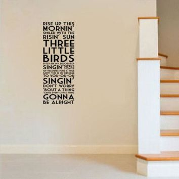 G269 Bob Marley Three Little Birds Song Lyrics Quote Vinyl Wall Decal Decor Sticker Decorative art of living room wall stickers