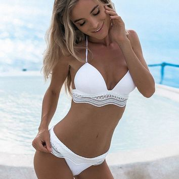 New 2019 Lace Patchwork Solid String Swimsuit Bikini Set Sexy Push Up Swimming Suit For Women Bathing Suit Summer Maillot