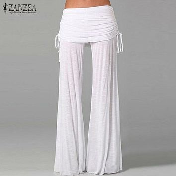 Elegant Women's Elastic Waist Long Flared Wide Leg Pants.    Available in White, Black and Lime.     In Sizes Small to 4XL.    ***FREE SHIPPING***