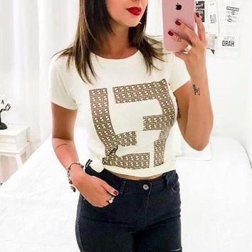FENDI Fashion Women Leisure Double F Letter Print Cotton Top T-Shirt White