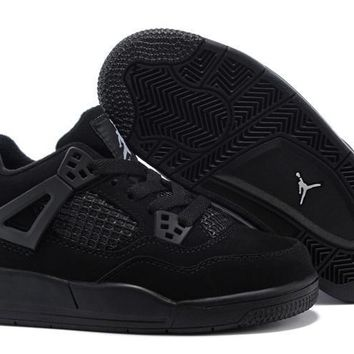 Kids Air Jordan 4 Black Sneaker Shoe Size US 11C-3Y