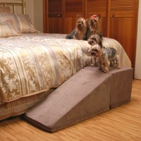 PuppyStairs 1-Piece Ramp with Cube Chocolate Suede. All covers are removable, machine washable; Foam is Industrial grade high-density foam, which firmly supports Pets up to 60 pounds