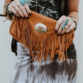 Leather Fringed Concho Clutch - Tan