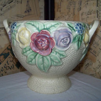Vintage Roseville Yellow 1917 Rozane Jardiniere--Antique--Floral Centerpiece--Tabletop Planter--Pottery--Cottage Chic--My Vintage Home