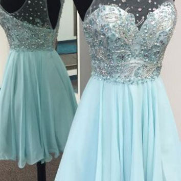 Baby Blue Homecoming Dress,  A-Line Lace Homecoming Dress with Beadings, Cute Short Party Dress