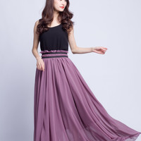 High Waist Wedding Skirt Chiffon Long Skirts Beautiful Elastic Waist Summer Skirt Floor Length Beach Skirt (201) 70#