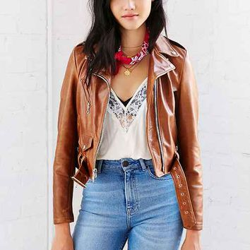 Schott Rust Leather Moto Jacket