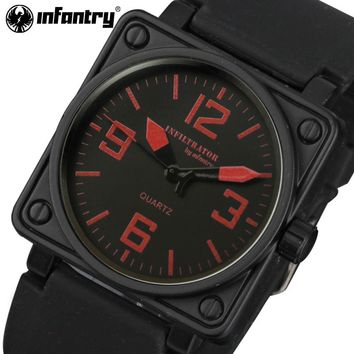 INFANTRY Mens Sports Watches Square Face Quartz Watches Rubber Strap Aviator Military Clocks for Male 2017 Relogios Masculino