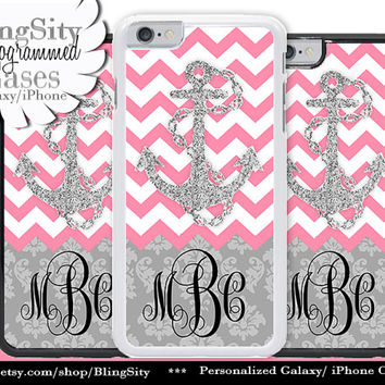 Monogram Damask iPhone 6 Case Anchor Pink Sparkle Chevrons 5C 6 Plus 5s iPhone 4 case Ipod Touch Personalized