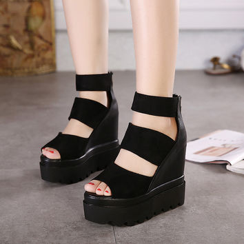 Stylish Summer Design Korean Club High Heel Shoes Roman Peep Toe Sexy Sandals [6050419649]