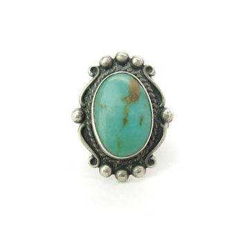 Navajo Ring. Turquoise, Sterling Silver. Bell Trading Post. Blue Green Brown Gemstone. Vintage 1950s Southwestern Statement Jewelry. SZ 6.75