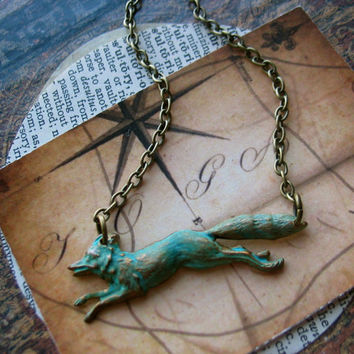 fox necklace hand aged verdigris patina by ReneeLoughlinDesigns