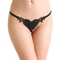 mokingtop Tangas Women Sexy Lace Hot Pearl Panties Women Sexy Lady Heart G-string Sexy G-string Bragas Mujer#121