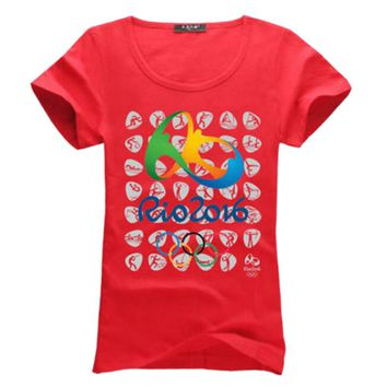 Commemorative Sports T-shirt Rio 2016 Olympic Games Round Neck Tee -XL Red