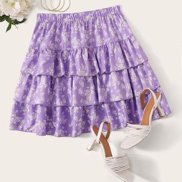 Layered Ruffle Ditsy Floral Skirt