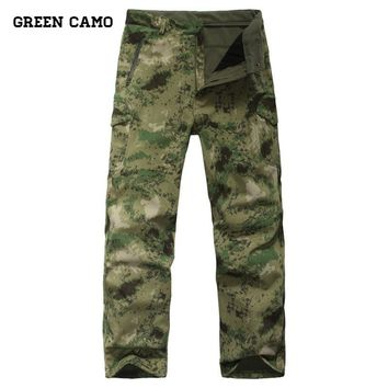 Gear Tactical Waterproof Soft Shell Pants Men Windproof Warm Camo Fleece Military Trousers Shark Skin Army Hunt Camouflage Pants