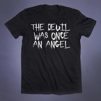 The Devil Was Once An Angel Slogan Tee Evil Grunge Satan Satanic Hell Alternative Clothing Punk Goth Tumblr T-shirt