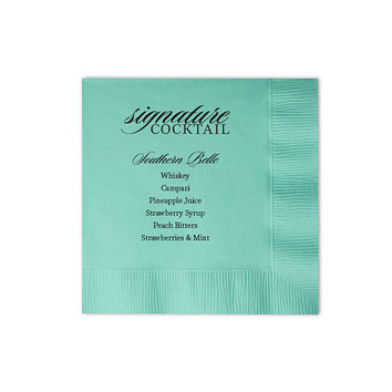 Signature Cocktail Napkins - Beverage Drink Napkin Custom Wedding Favor Foil Stamped Personalized Bridal Shower Rehearsal