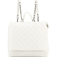 Alice + Olivia Scarlet Quilted Leather Backpack, White