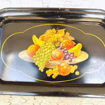 Black Enamel Metal Trays, Fruit Bowl Lithograph, Mid Century, Set of 4 Serving Tray, Vintage Cafe' Decor
