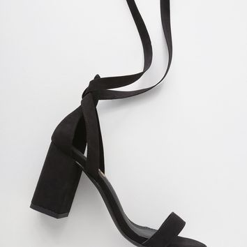 Airis Black Suede Lace-Up Heels