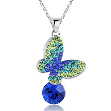 Queen of the Butterflies Necklace (Green and Blue)