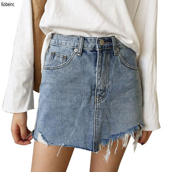 2017 Summer Pencil Skirt High Waist Washed Women Skirts Irregular Edges Denim Jupe All Match Mini Saia Plus Size Women's Faldas