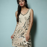 HOTTEST 1920s ELEGANT FLAPPER DRESS GREAT GATSBY CHARLESTON DECO PARTY SEQUIN/APPLIQUE DRESS 648