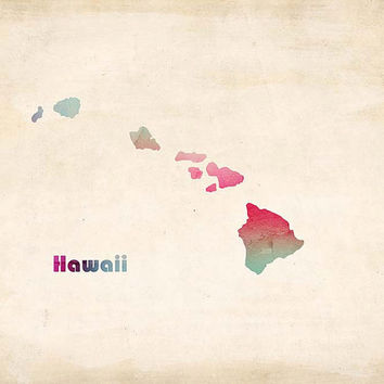Hawaiian Islands Watercolor Print Maui Decor Travel Seaside Ocean Love