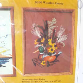 Vintage Sewing Crewel Kit, Wooden Duck Decoy, Sunflowers, Cattails,Flower Arrangement,New in Package,Needlework Kit,Embroidery, Brown, Green