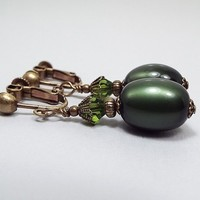 Clip on Earrings, Dark Olive Green Earrings, Drop Dangle, Antiqued Brass, Made with Vintage Moonglow Lucite Beads, Glam Womens, Fall Jewelry
