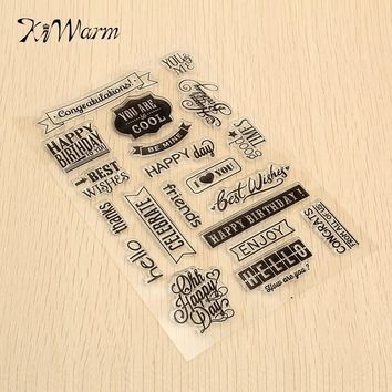 KiWarm 1pc Happy Birthday Words Transparent Rubber Stamp Sheet Scrapbooking Craft Card Clear Stamp Cling Set DIY Decoration
