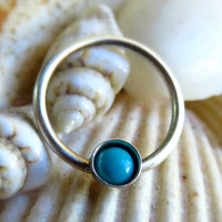 Turquoise Septum Ring, Turquoise Nose Ring, Septum Hoop, Turquoise Septum Piercing