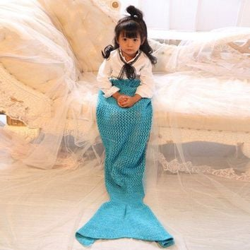 Crochet Bowknot Lace-Up Photography or Mermaid Blanket For Kids