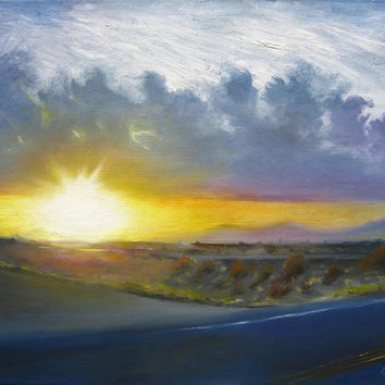 Sunset Painting Landscape Sun Sky Clouds Road by LogicFreeArt