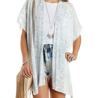 Paisley Print Side Slit Kimono by Charlotte Russe